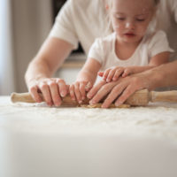 Rolling out Bread with Dad