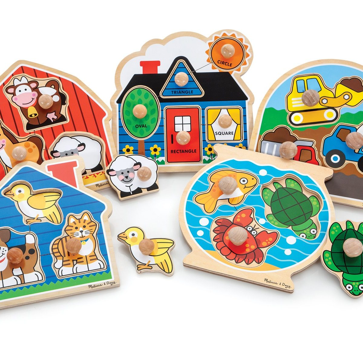 Farmhouse, House, Pet, Fish Bowl and Construction Knob Puzzles